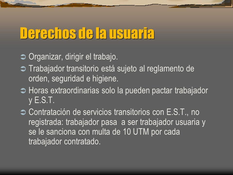 Derechos de la usuaria Organizar, dirigir el trabajo. Trabajador transitorio está sujeto al reglamento de orden, seguridad e higiene. Horas extraordin