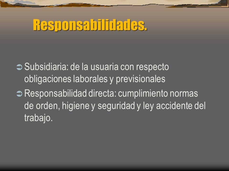 Responsabilidades. Subsidiaria: de la usuaria con respecto obligaciones laborales y previsionales Responsabilidad directa: cumplimiento normas de orde