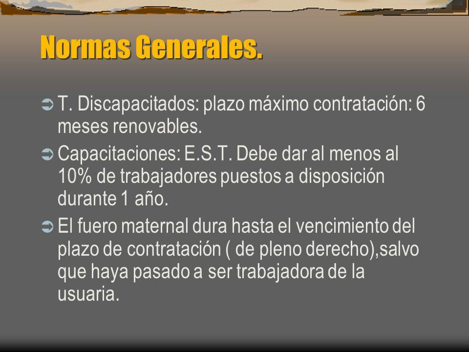 Normas Generales. T. Discapacitados: plazo máximo contratación: 6 meses renovables. Capacitaciones: E.S.T. Debe dar al menos al 10% de trabajadores pu