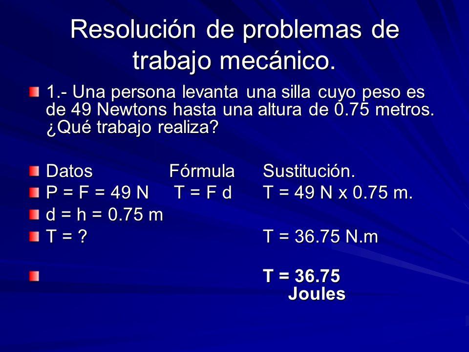 Resolución de problemas de trabajo mecánico. 1.- Una persona levanta una silla cuyo peso es de 49 Newtons hasta una altura de 0.75 metros. ¿Qué trabaj