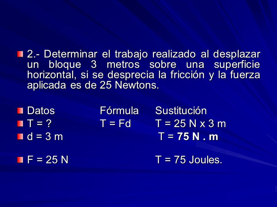 2.- Determinar el trabajo realizado al desplazar un bloque 3 metros sobre una superficie horizontal, si se desprecia la fricción y la fuerza aplicada