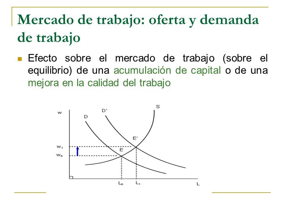 Mercado de trabajo: oferta y demanda de trabajo Efecto sobre el mercado de trabajo (sobre el equilibrio) de una acumulación de capital o de una mejora