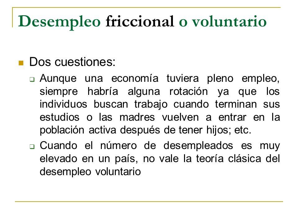 Desempleo friccional o voluntario Dos cuestiones: Aunque una economía tuviera pleno empleo, siempre habría alguna rotación ya que los individuos busca