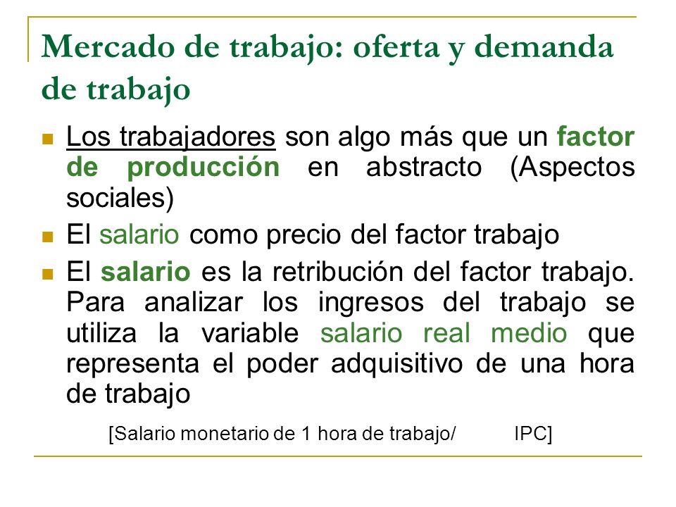 Mercado de trabajo: oferta y demanda de trabajo Los trabajadores son algo más que un factor de producción en abstracto (Aspectos sociales) El salario