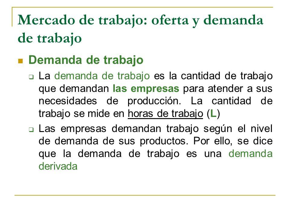 Mercado de trabajo: oferta y demanda de trabajo Demanda de trabajo La demanda de trabajo es la cantidad de trabajo que demandan las empresas para aten
