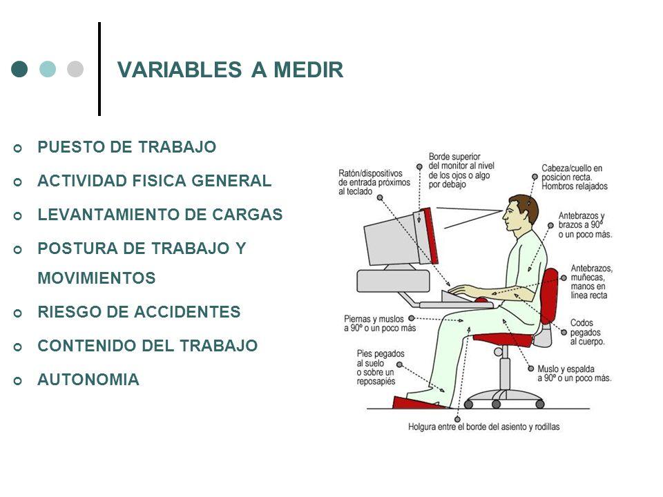 VARIABLES A MEDIR PUESTO DE TRABAJO ACTIVIDAD FISICA GENERAL LEVANTAMIENTO DE CARGAS POSTURA DE TRABAJO Y MOVIMIENTOS RIESGO DE ACCIDENTES CONTENIDO D