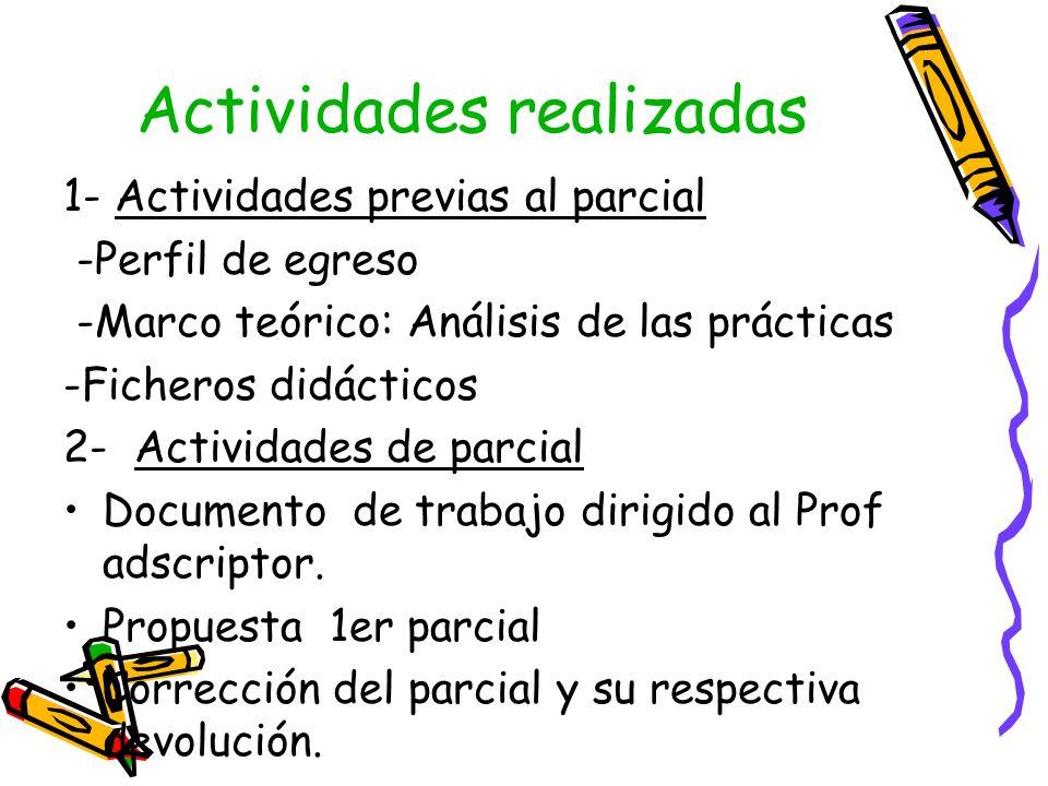 Actividades realizadas 1- Actividades previas al parcial -Perfil de egreso -Marco teórico: Análisis de las prácticas -Ficheros didácticos 2- Actividad