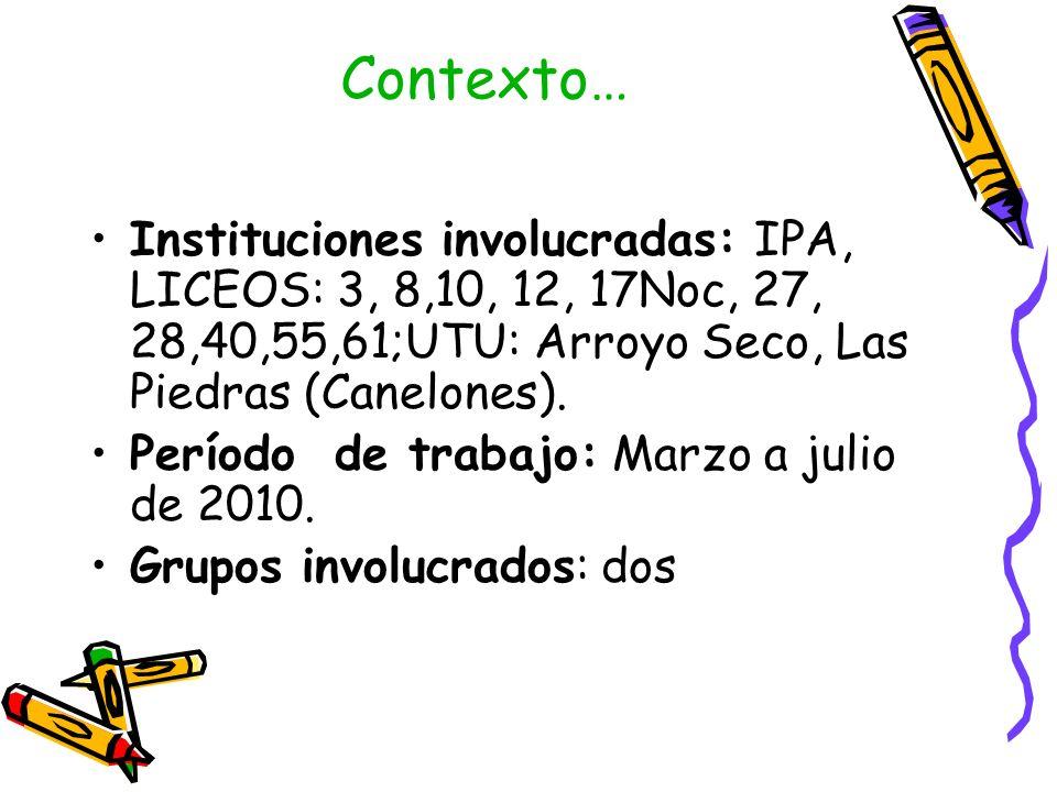 Contexto… Instituciones involucradas: IPA, LICEOS: 3, 8,10, 12, 17Noc, 27, 28,40,55,61;UTU: Arroyo Seco, Las Piedras (Canelones). Período de trabajo: