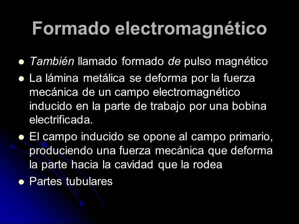 Formado electromagnético También llamado formado de pulso magnético La lámina metálica se deforma por la fuerza mecánica de un campo electromagnético inducido en la parte de trabajo por una bobina electrificada.