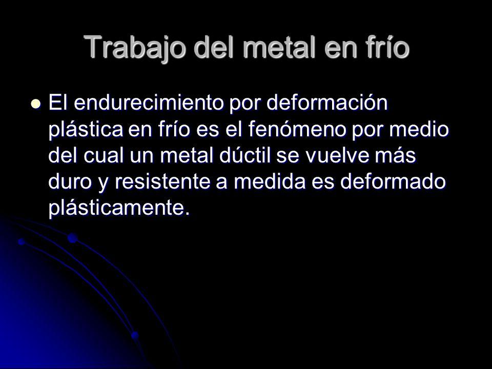 Trabajo del metal en frío El endurecimiento por deformación plástica en frío es el fenómeno por medio del cual un metal dúctil se vuelve más duro y resistente a medida es deformado plásticamente.
