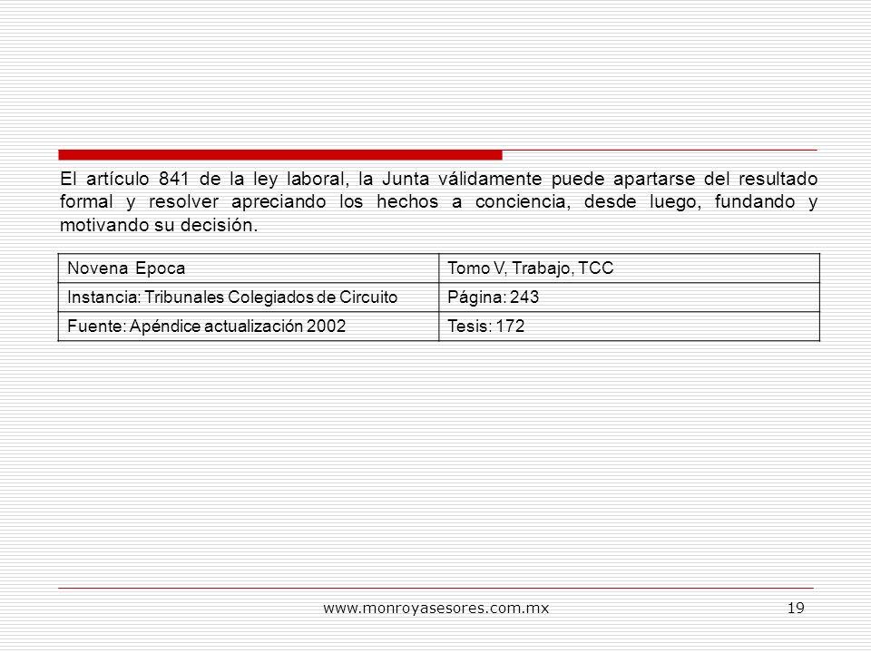 www.monroyasesores.com.mx19 Novena EpocaTomo V, Trabajo, TCC Instancia: Tribunales Colegiados de CircuitoPágina: 243 Fuente: Apéndice actualización 20