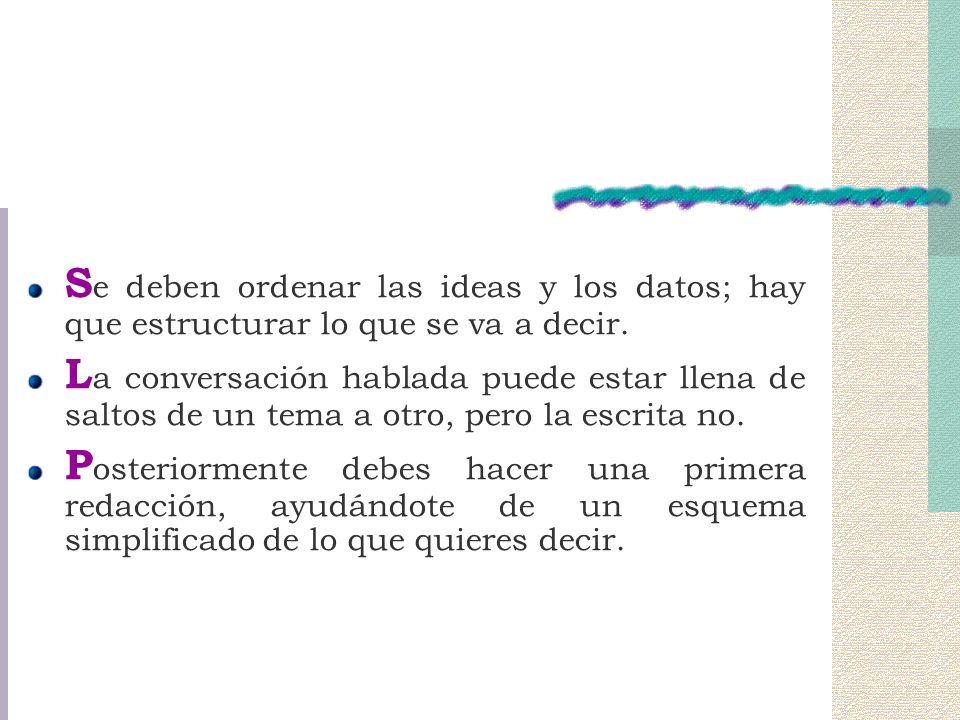 S e deben ordenar las ideas y los datos; hay que estructurar lo que se va a decir.