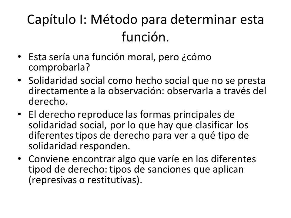 Capítulo I: Método para determinar esta función. Esta sería una función moral, pero ¿cómo comprobarla? Solidaridad social como hecho social que no se