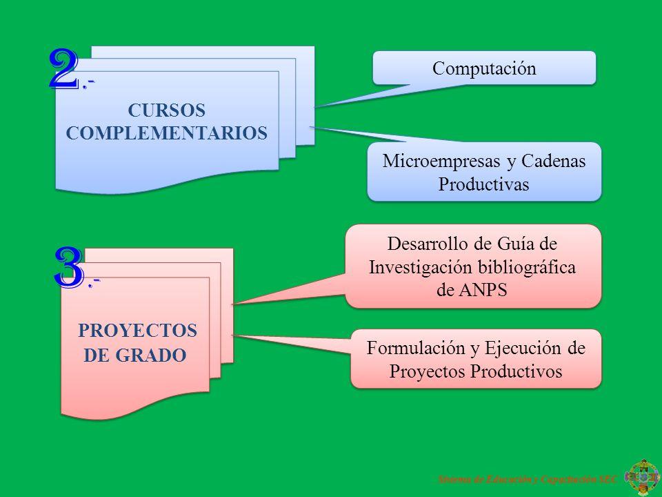 PROYECTOS DE GRADO Desarrollo de Guía de Investigación bibliográfica de ANPS Formulación y Ejecución de Proyectos Productivos CURSOS COMPLEMENTARIOS Computación Microempresas y Cadenas Productivas 2.- 3.- Sistema de Educación y Capacitación SEC