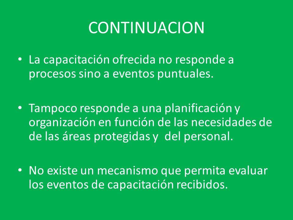 CONTINUACION La capacitación ofrecida no responde a procesos sino a eventos puntuales. Tampoco responde a una planificación y organización en función