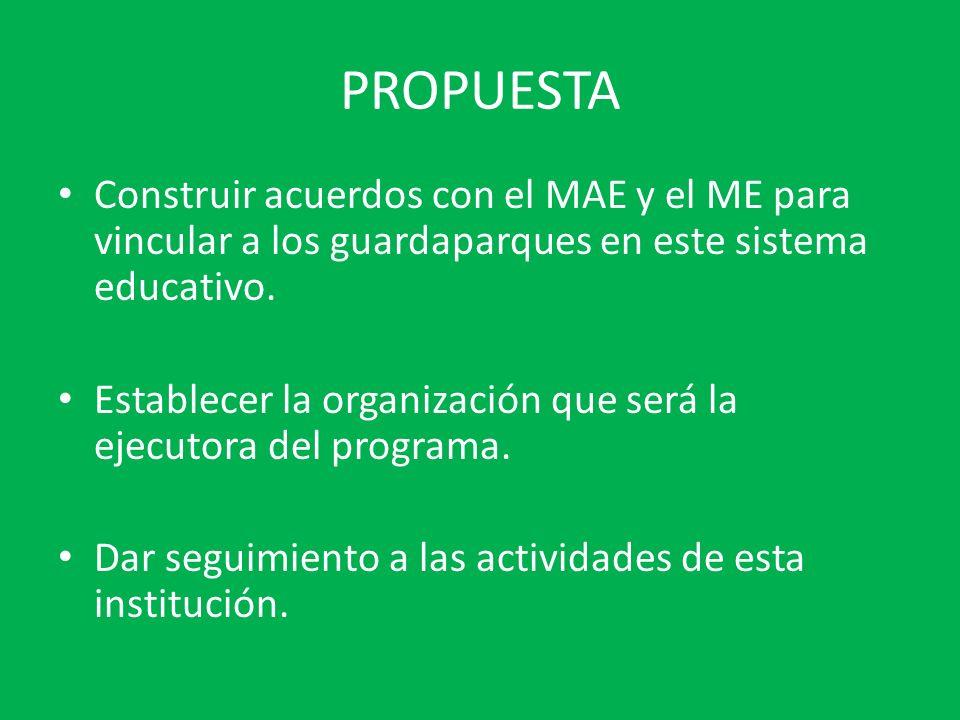 PROPUESTA Construir acuerdos con el MAE y el ME para vincular a los guardaparques en este sistema educativo. Establecer la organización que será la ej