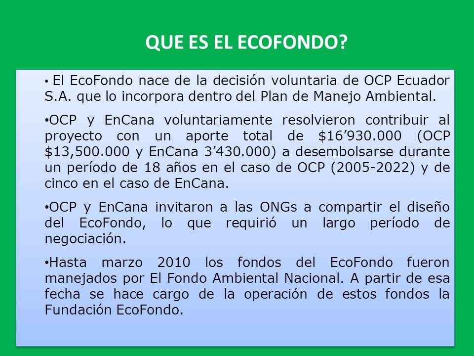 QUE ES EL ECOFONDO? El EcoFondo nace de la decisión voluntaria de OCP Ecuador S.A. que lo incorpora dentro del Plan de Manejo Ambiental. OCP y EnCana