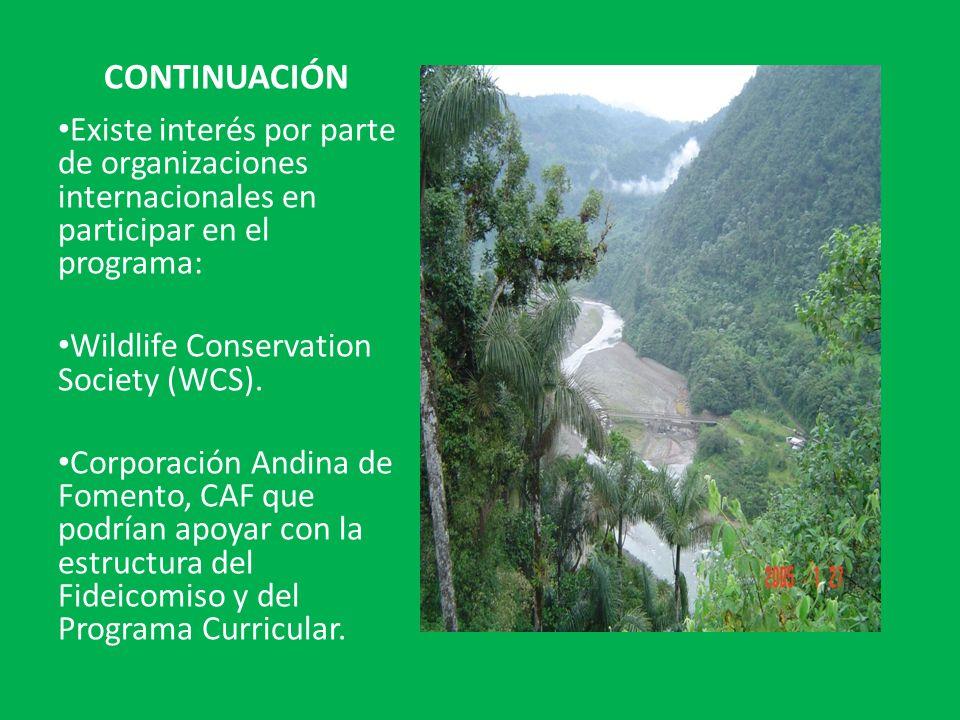 CONTINUACIÓN Existe interés por parte de organizaciones internacionales en participar en el programa: Wildlife Conservation Society (WCS). Corporación