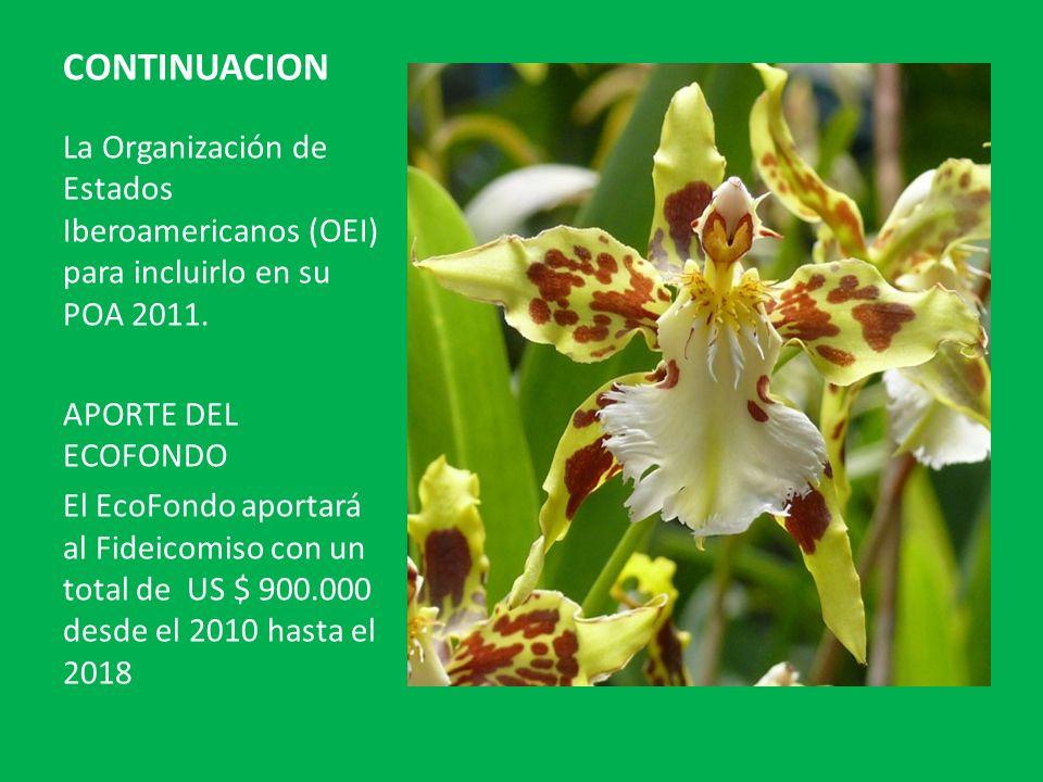 CONTINUACION La Organización de Estados Iberoamericanos (OEI) para incluirlo en su POA 2011. APORTE DEL ECOFONDO El EcoFondo aportará al Fideicomiso c