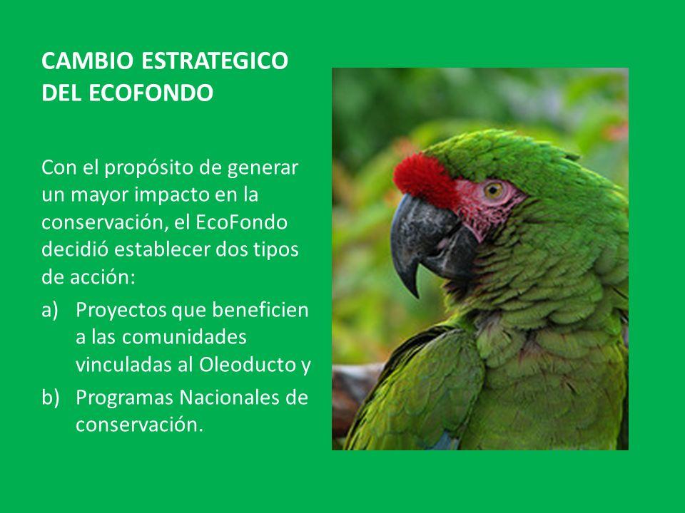 CAMBIO ESTRATEGICO DEL ECOFONDO Con el propósito de generar un mayor impacto en la conservación, el EcoFondo decidió establecer dos tipos de acción: a)Proyectos que beneficien a las comunidades vinculadas al Oleoducto y b)Programas Nacionales de conservación.