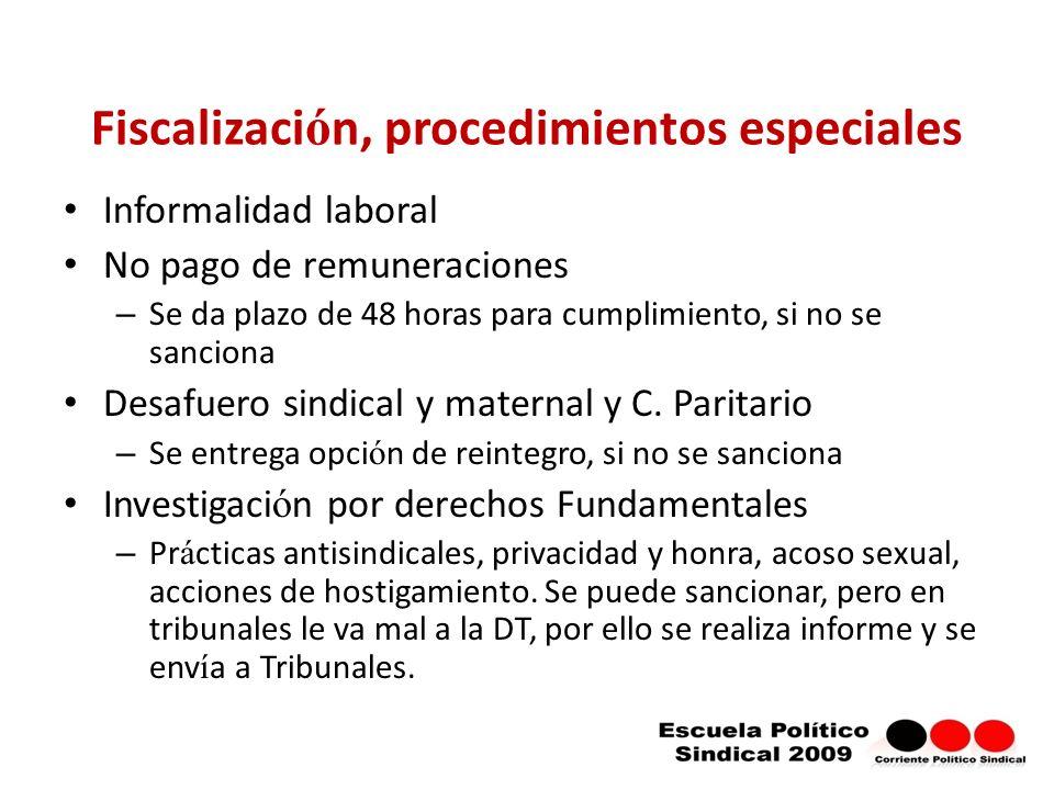 Fiscalizaci ó n, procedimientos especiales Informalidad laboral No pago de remuneraciones – Se da plazo de 48 horas para cumplimiento, si no se sanciona Desafuero sindical y maternal y C.