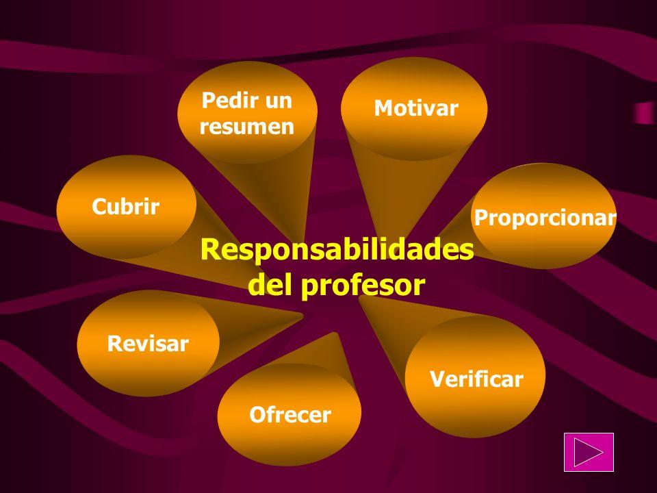 Motivar Revisar Proporcionar Ofrecer Verificar Cubrir Pedir un resumen Responsabilidades del profesor