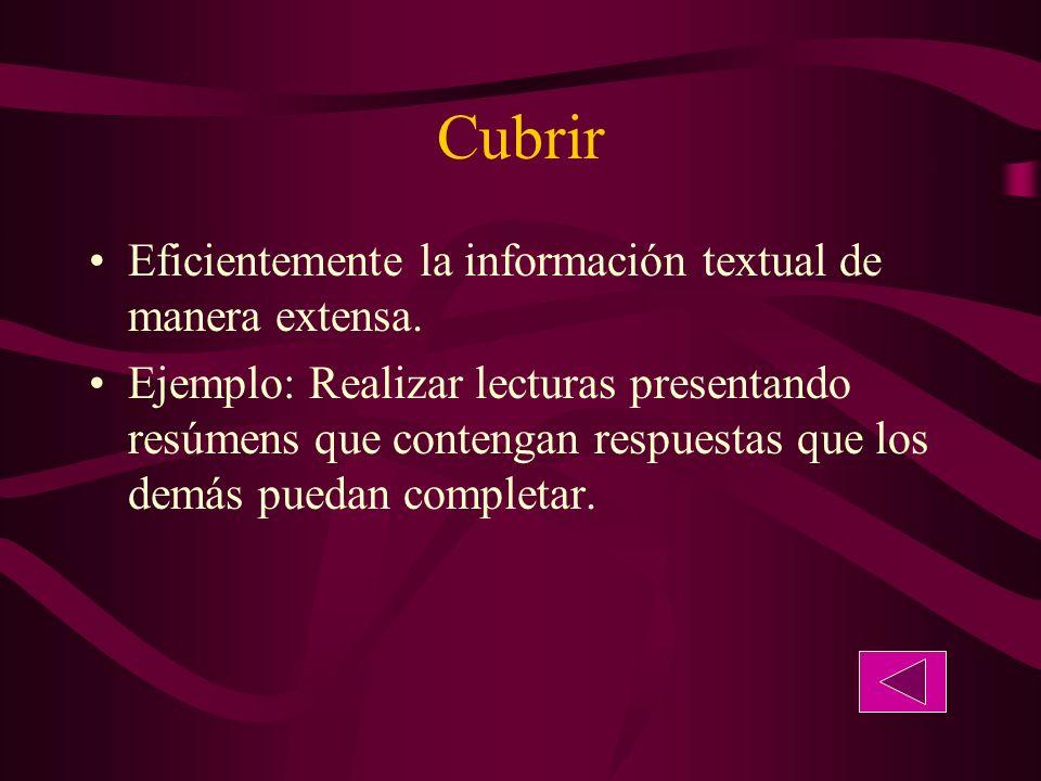 Cubrir Eficientemente la información textual de manera extensa.