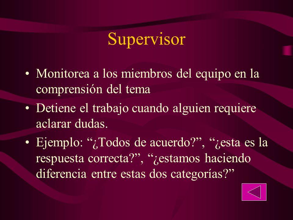 Supervisor Monitorea a los miembros del equipo en la comprensión del tema Detiene el trabajo cuando alguien requiere aclarar dudas.