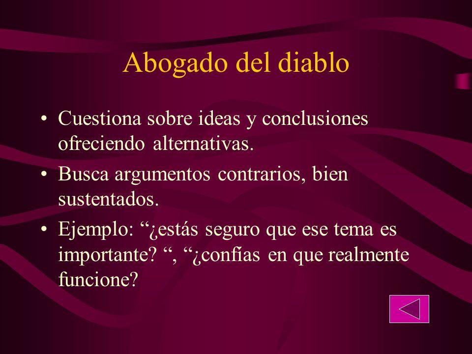 Abogado del diablo Cuestiona sobre ideas y conclusiones ofreciendo alternativas.