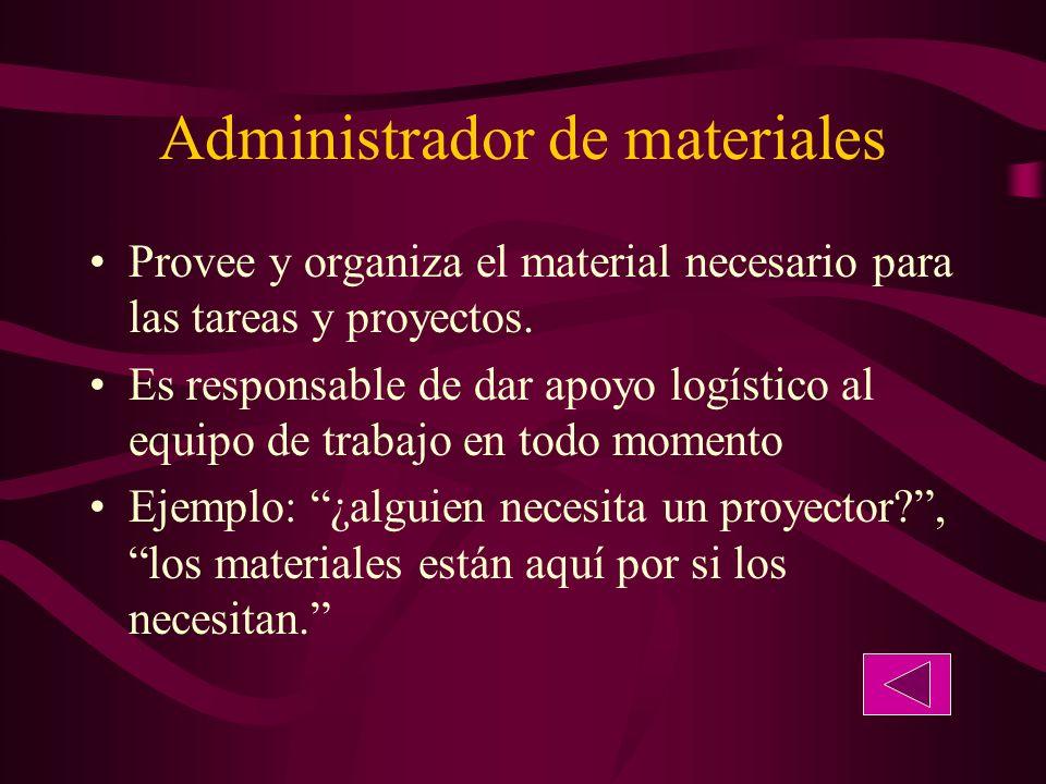 Administrador de materiales Provee y organiza el material necesario para las tareas y proyectos.