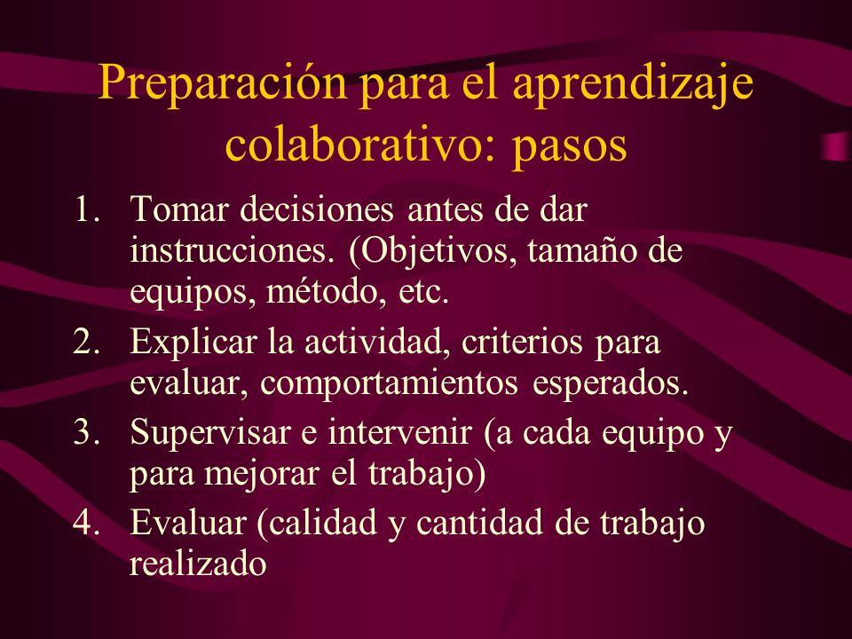 Preparación para el aprendizaje colaborativo: pasos 1.Tomar decisiones antes de dar instrucciones.