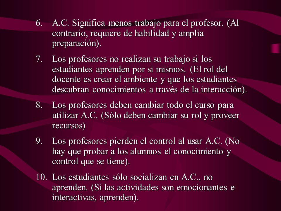 6.A.C.Significa menos trabajo para el profesor.