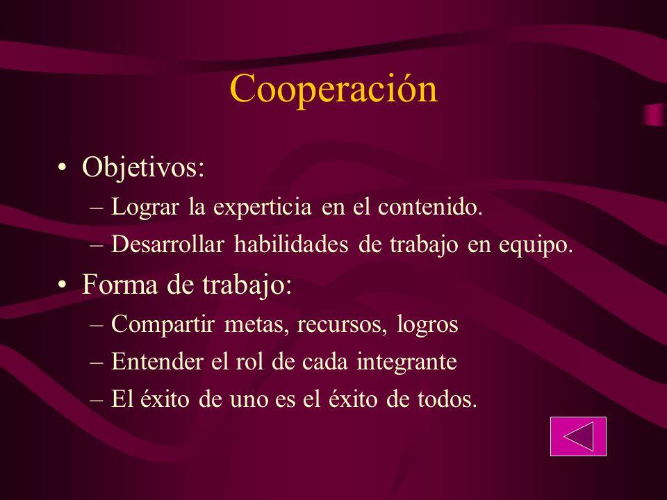 Cooperación Objetivos: –Lograr la experticia en el contenido.