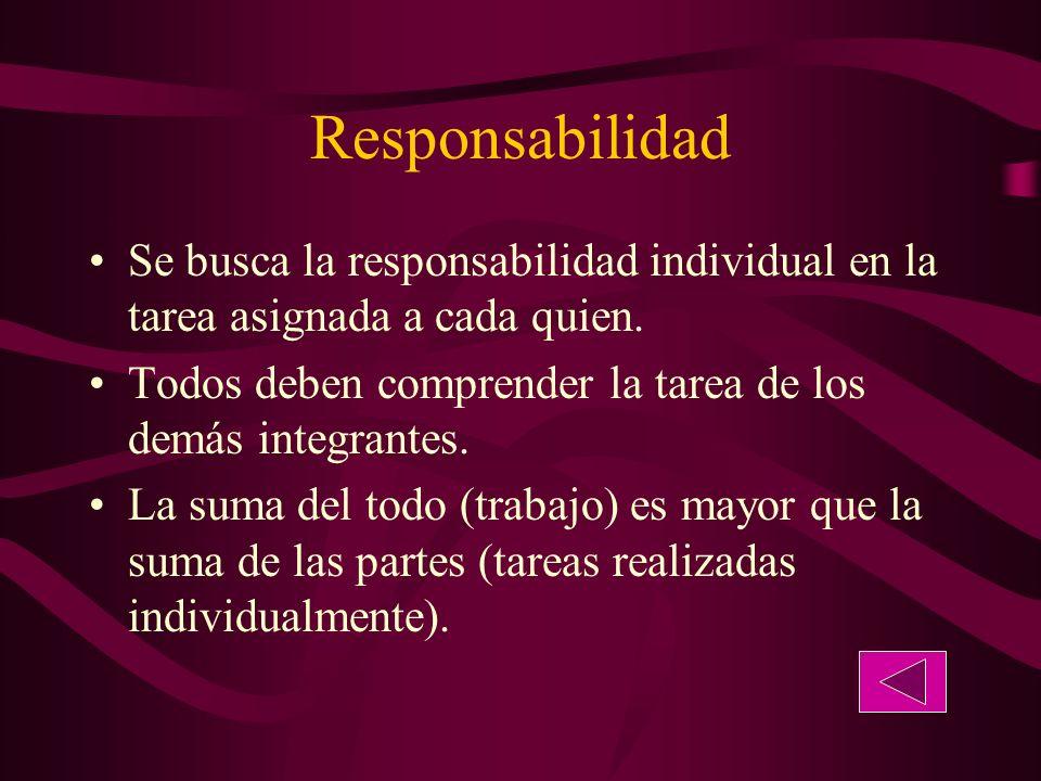 Responsabilidad Se busca la responsabilidad individual en la tarea asignada a cada quien.