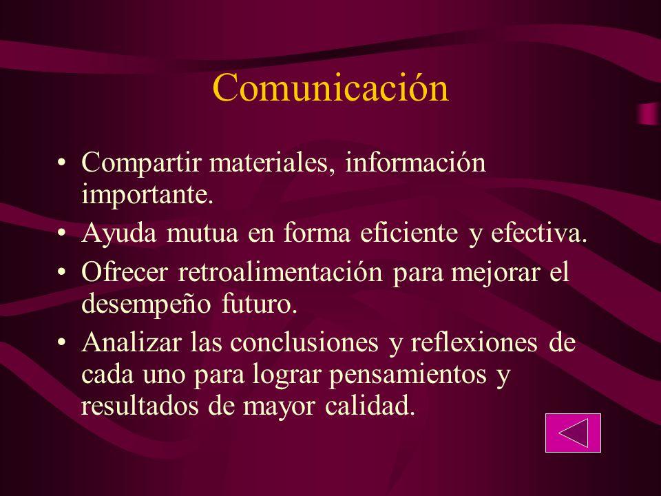 Comunicación Compartir materiales, información importante.