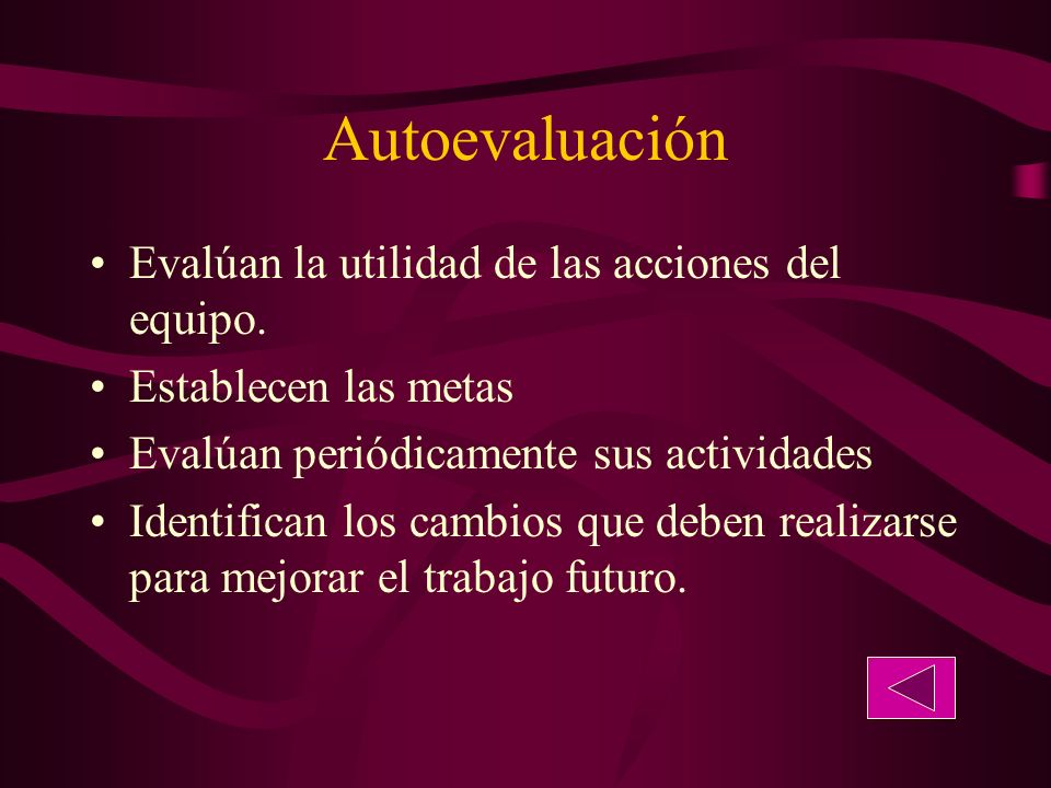 Autoevaluación Evalúan la utilidad de las acciones del equipo.