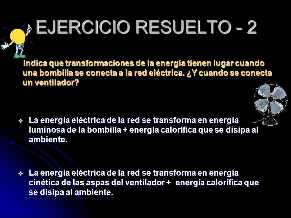Indica que transformaciones de la energía tienen lugar cuando una bombilla se conecta a la red eléctrica. ¿Y cuando se conecta un ventilador? Indica q