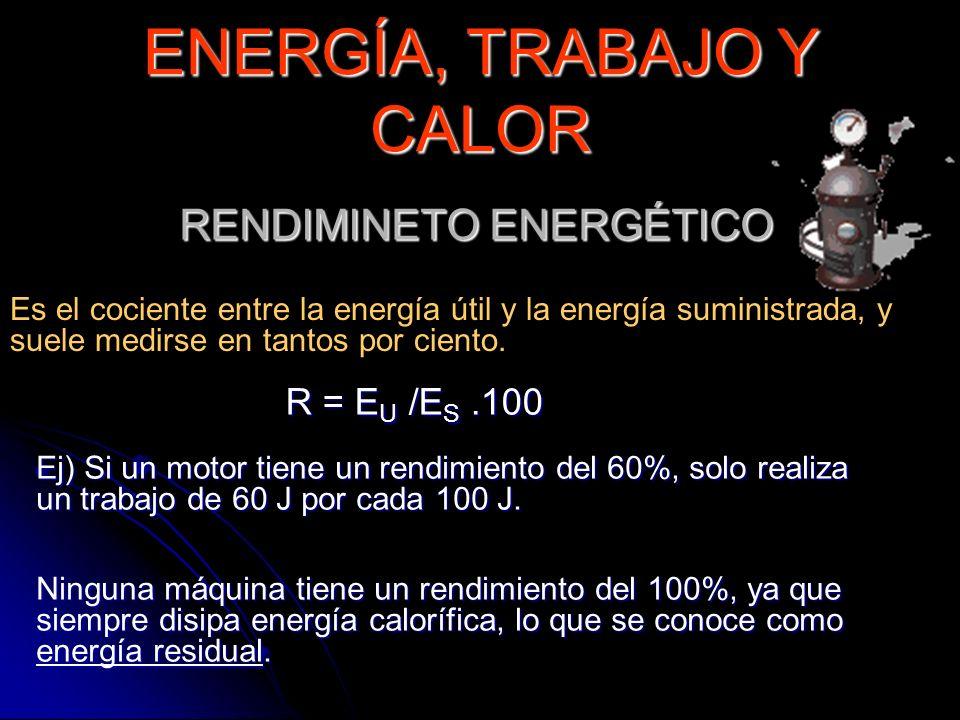 RENDIMINETO ENERGÉTICO Es el cociente entre la energía útil y la energía suministrada, y suele medirse en tantos por ciento. ENERGÍA, TRABAJO Y CALOR
