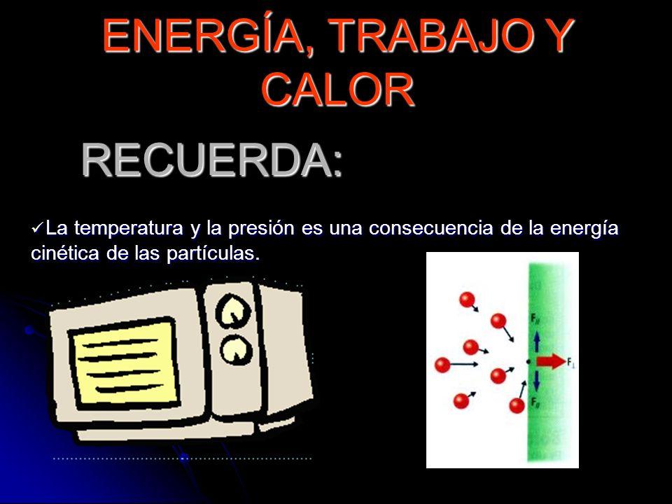 RECUERDA: La temperatura y la presión es una consecuencia de la energía cinética de las partículas. La temperatura y la presión es una consecuencia de