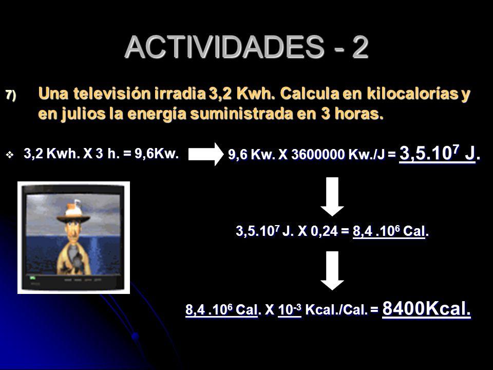ACTIVIDADES - 2 7) Una televisión irradia 3,2 Kwh. Calcula en kilocalorías y en julios la energía suministrada en 3 horas. 3,2 Kwh. X 3 h. = 9,6Kw. 3,