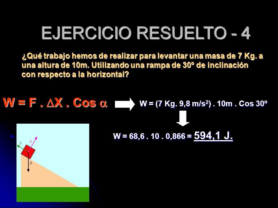 W = (7 Kg. 9,8 m/s 2 ). 10m. Cos 30º W = F. X. Cos W = F. X. Cos ¿Qué trabajo hemos de realizar para levantar una masa de 7 Kg. a una altura de 10m. U