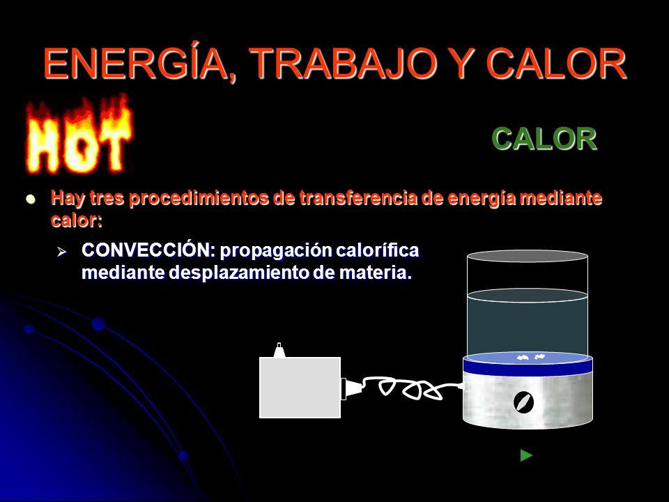 CALOR Hay tres procedimientos de transferencia de energía mediante calor: Hay tres procedimientos de transferencia de energía mediante calor: CONVECCI