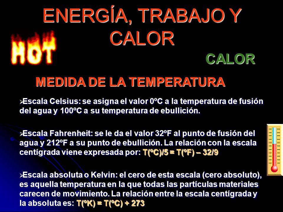 MEDIDA DE LA TEMPERATURA Escala Celsius: se asigna el valor 0ºC a la temperatura de fusión del agua y 100ºC a su temperatura de ebullición. Escala Cel