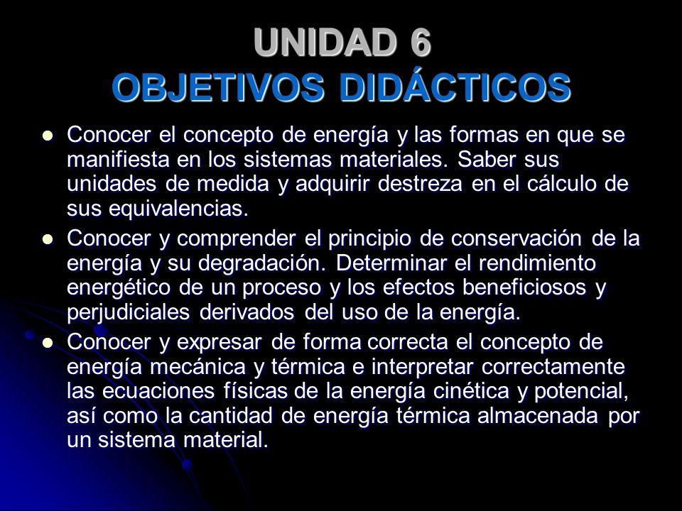 UNIDAD 6 OBJETIVOS DIDÁCTICOS Conocer el concepto de energía y las formas en que se manifiesta en los sistemas materiales. Saber sus unidades de medid