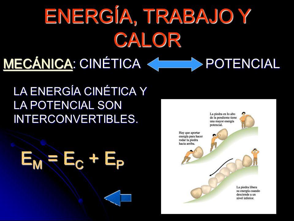 MECÁNICAMECÁNICA: CINÉTICA POTENCIAL MECÁNICA LA ENERGÍA CINÉTICA Y LA POTENCIAL SON INTERCONVERTIBLES. E M = E C + E P ENERGÍA, TRABAJO Y CALOR