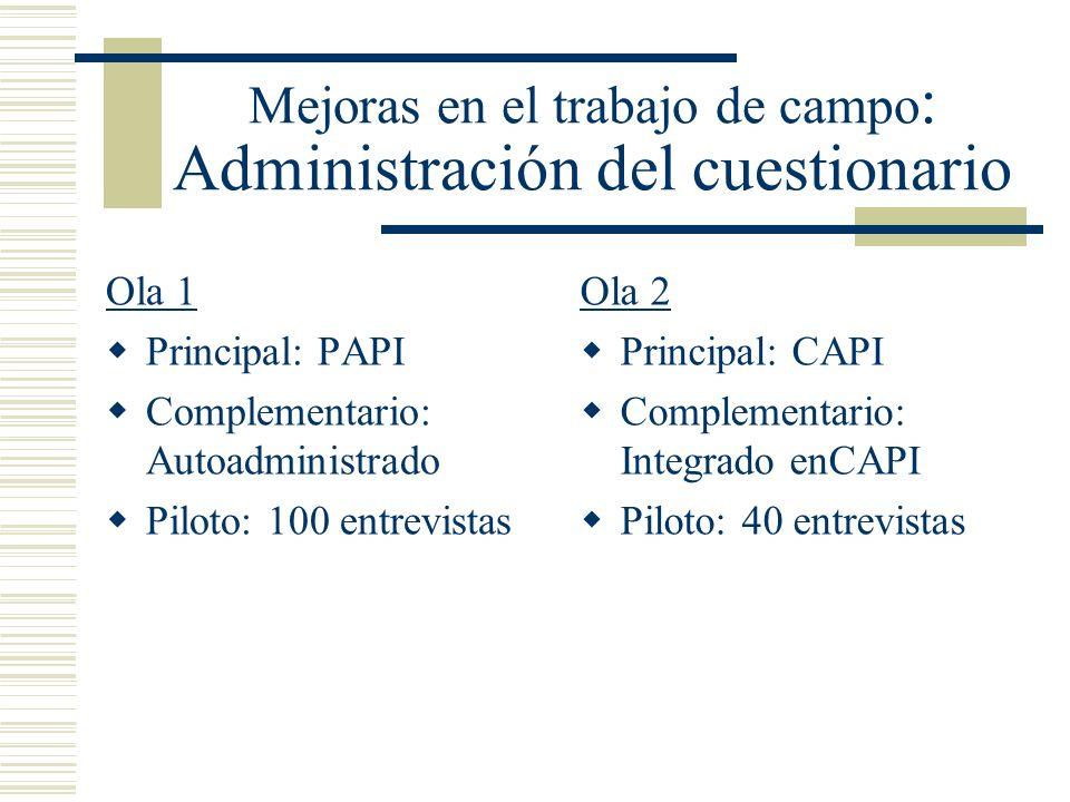 Mejoras en el trabajo de campo : Administración del cuestionario Ola 1 Principal: PAPI Complementario: Autoadministrado Piloto: 100 entrevistas Ola 2