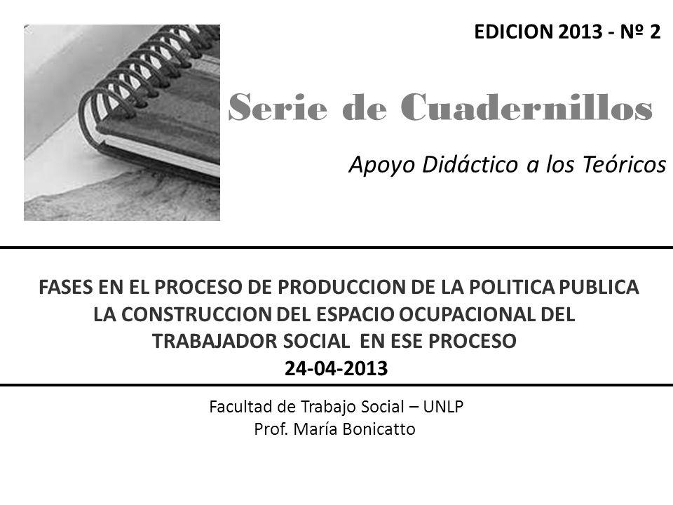 Apoyo Didáctico a los Teóricos Facultad de Trabajo Social – UNLP Prof. María Bonicatto FASES EN EL PROCESO DE PRODUCCION DE LA POLITICA PUBLICA LA CON