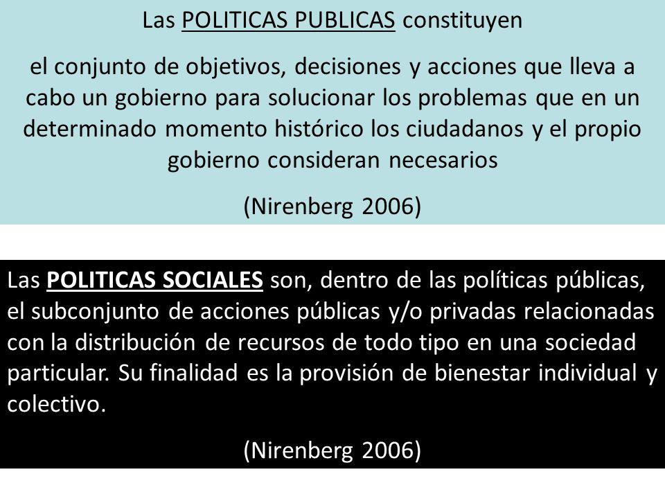 Las POLITICAS SOCIALES son, dentro de las políticas públicas, el subconjunto de acciones públicas y/o privadas relacionadas con la distribución de rec