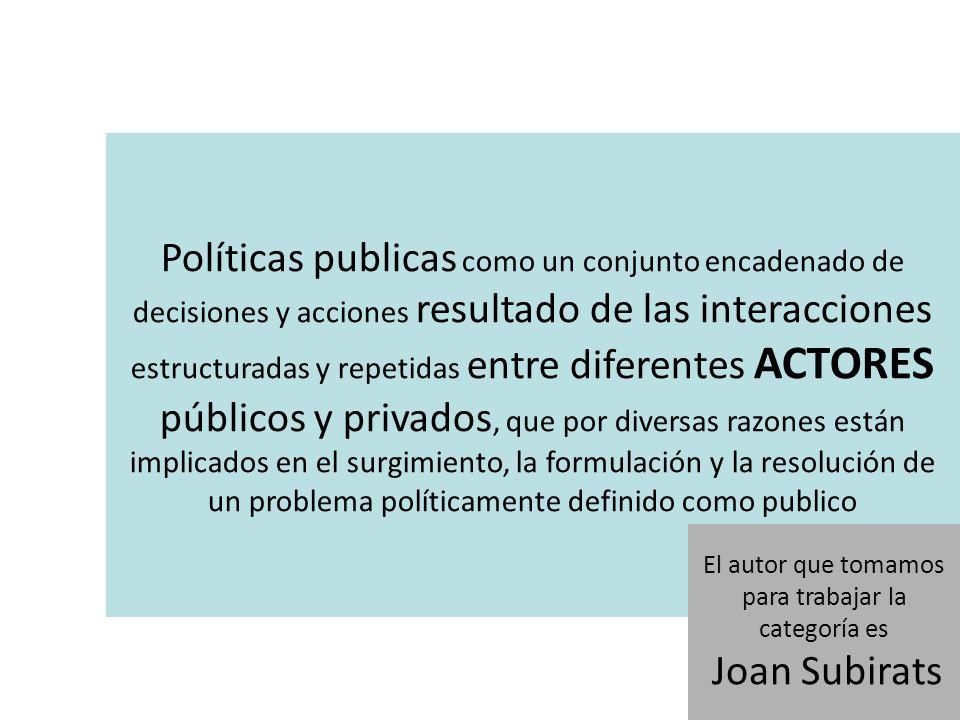 Políticas publicas como un conjunto encadenado de decisiones y acciones resultado de las interacciones estructuradas y repetidas entre diferentes ACTO