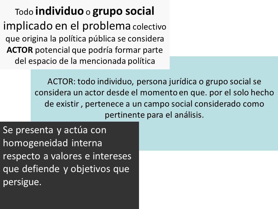 ACTOR: todo individuo, persona jurídica o grupo social se considera un actor desde el momento en que. por el solo hecho de existir, pertenece a un cam
